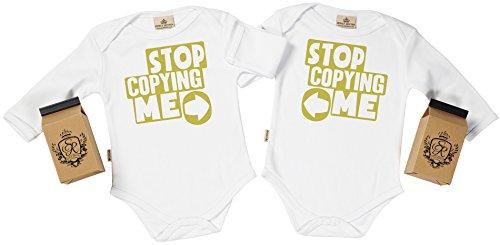 SR - estuche de presentación - Stop Copying Me body gemelos bebé - ropa para gemelos bebé - regalo para gemelos bebé, Blanco, 0-6 meses