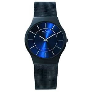 Skagen - 233LTMN - Montre plate Homme - Quartz analogique - Bracelet en acier maille milanaise Noir