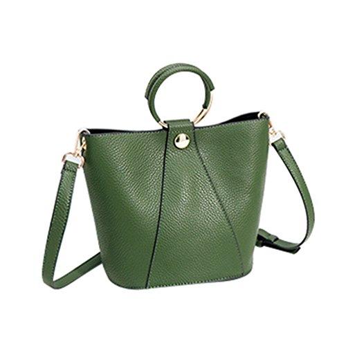Heheja Damen Einfache Feste Farbe Bucket Bag Crossbody Bucket Handbag Dunkel Grün