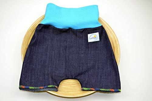 Jeans Shorts aus Bio-Baumwolle, Pumphose 74 80 Mädchen, Junge, kurze Hose, Freizeit, festlich, schick, bunte Naht, modern