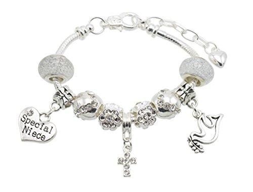 Jewellery Hut - Braccialetto da ragazza per la cresima, con ciondolo con 11 messaggi fra cui scegliere, con confezione regalo e bigliettino (lingua italiana non garantita)