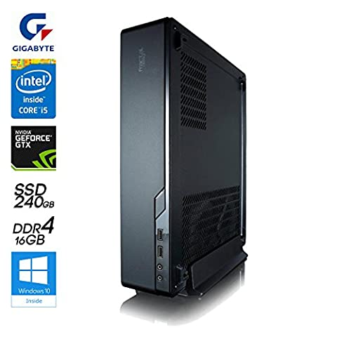 SNOGARD Minicase Max Power Gaming PC incl. Windows 10 | Intel Core i5-7500 Kaby Lake, 6GB Nvidia GeForce GTX 1060 Overclocked, 16GB DDR4 RAM, 2TB HDD • Slim Desktop Komplett System | Mega Power PC im Konsolen