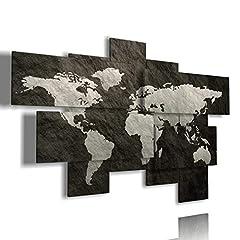 Idea Regalo - duudaart Quadro Mappa del Mondo Astratto 3D Quadri Moderni Soggiorno XXL Planisfero da Parete