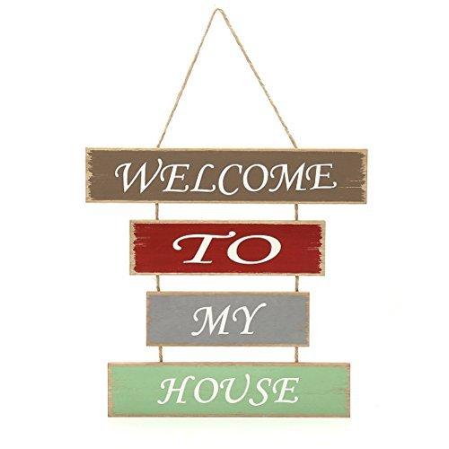 35,1x 33,5cm MDF Holz Fun Deko Platten zum Aufhängen Willkommen Schild, Welcome to my House (Ferien-platten Kleine)