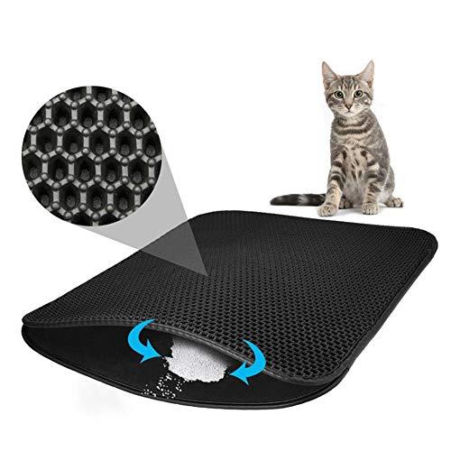 IF.HLMF Trampa para Gatos Cat Trapper Mat Plegable a Prueba de Agua de Nido de Abeja, Cojín Mat Superior para la Caja de Arena para Gatos Más Grande con Goma de Espuma EVA de Capa Base