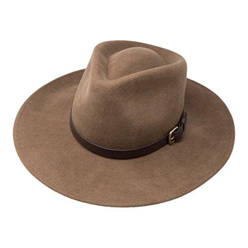 Fedora Hut mit breiter Krempe - 100% Wollfilz - wasserfest - Lederband - 54cm Hellbraun ()