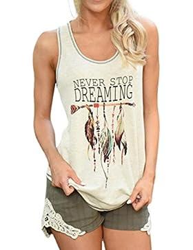 Camisetas Mujer Verano 2018 Camisas Sin Mangas Patrón de Plumas Blusas Tops