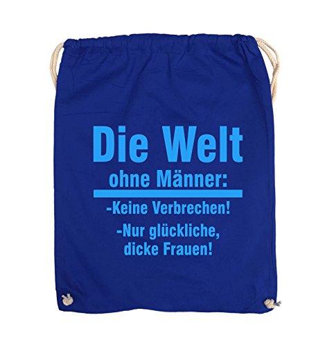 Comedy Bags - Die Welt ohne Männer - keine Verbrechen nur dicke Frauen - Turnbeutel - 37x46cm - Farbe: Schwarz / Silber Royalblau / Blau
