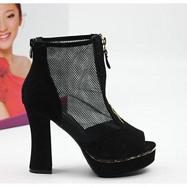 RUGAI-UE Sommer Mode Frauen Sandalen Schuhe Casual PU Komfort Heels Outdoor Wandern, Schwarz, UNS 6,5-7/EU 37/ UK 4,5-5/CN 37 Black