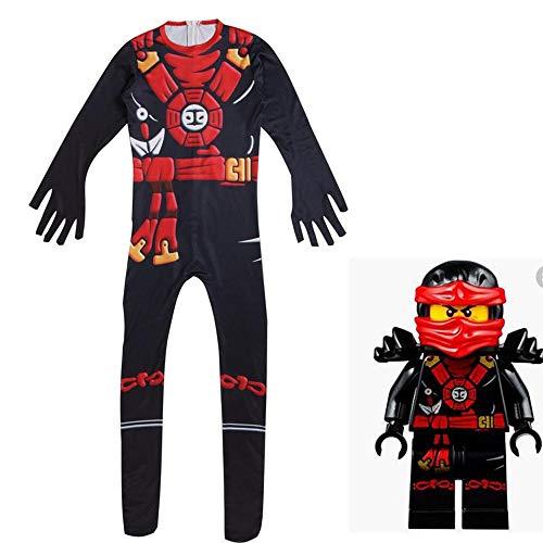 zhaolian888 Halloween Ninja Kostüme für Jungen/Mädchen, Anime Ninja Cosplay Stretch Body (grün/Rot)