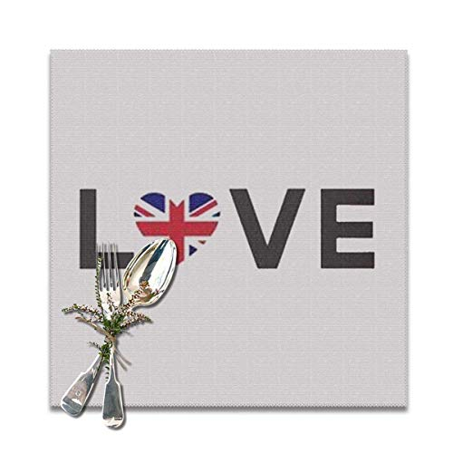 Aeykis Rice Word Flag i Love London Washable Tischsets for Dining Table Double Fabric Printing Cotton Place Mats for Kitchen Table Set of 6 Table Mat 12