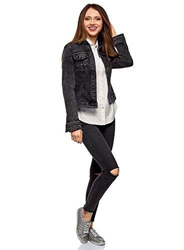 oodji Ultra Donna Camicia Basic con Una Tasca Bianco (1029D)