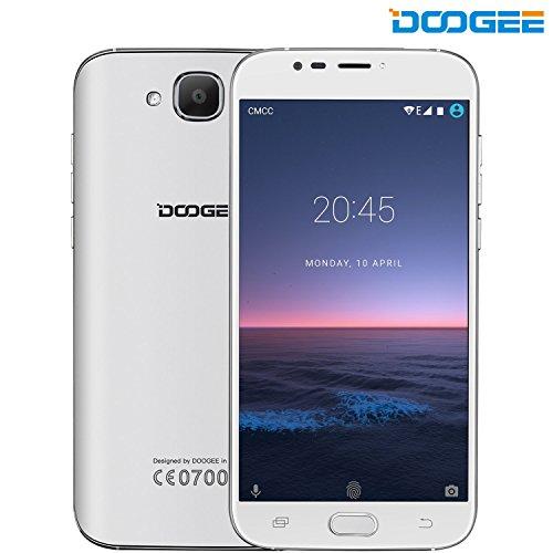 Smartphone ohne Vertrag, DOOGEE X9 MINI 3G Android 6.0 Dual Sim Günstig Handy, 2.5D Ultra Slim 5 Zoll HD MT6580 Quad Core Smartphones, 8GB ROM+5MP Kamera mit Flash Handys, Fingerabdrucksensor -Weiß