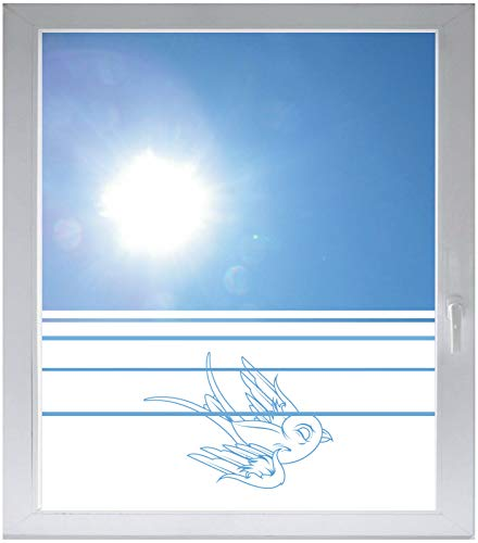 INDIGOS UG Sichtschutzfolie Glasdekorfolie Fensterfolie mit Motiv satiniert Blickdicht - E375 Schöner Vogel - 1000 mm Länge - 500 mm Höhe Streifen - Satiniert Mit Streifen