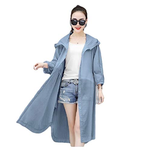 CuteRose Womens Hoodie Sunscreen Casual Solid Color Baggy Jacket Overcoat Blue M