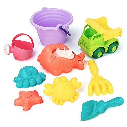 DREAMON Strand Sandspielzeug mit Sandförmchen Gießkanne Netzbeutel 9tlg Sandkasten Spielzeug Set für Kinder Junge Mädchen