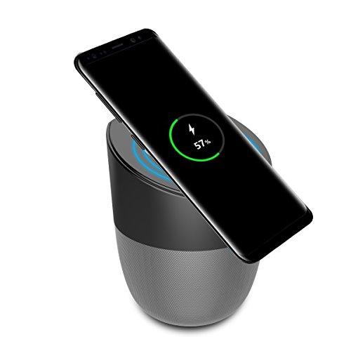 Unbekannt Wireless Charger Speaker con Bluetooth Caricatore per Cellulare, 5 Watt con Suono di qualità e Microfono Incorporato per chiamate, Anti Slip e USB - Grigio