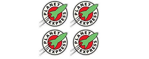4 Aufkleber Planet Express Rakete Nasa Space Ship Apollo Animation Aufkleber Sticker + Gratis Schlüsselringanhänger Kokosnuss-Schale + Auto Motorrad Laptop Notebook Boot Snowboard Skateboard BMX Fahrrad Skateboard-snowboard-boots