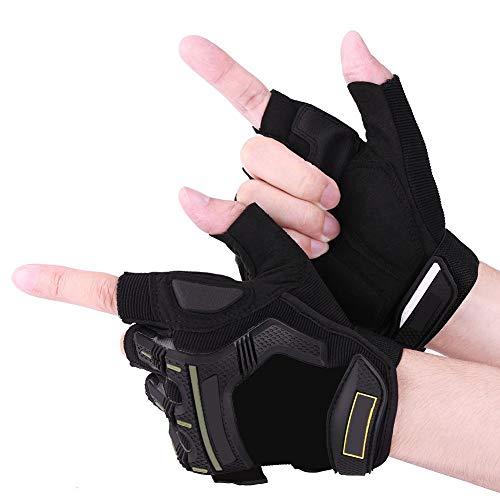 1 paio guanti mezze dita Guanti moto da corsa Guanti da ciclismo Guanti traspiranti protettivi Motorcross Outdoor Sports(M-nero)