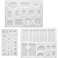 FineGood - Moldes de resina de silicona para manualidades, 3 unidades, con agujero para colgar