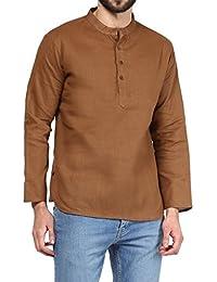 VIVIDS INDIA MEN'S Cotton Short Kurta (Brown , G-156 - $P)
