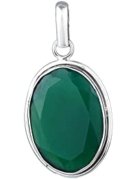 Natural Green Onyx gemstone 925 Sterling Silver Pendant jewelry 6.86 g