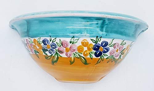 Vaso da muro svuotatasche ceramica realizzato e dipinto a mano le ceramiche del castello nina palomba pezzo unico dimensioni l 20 x h 10 cm.