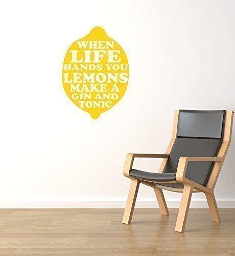 When Life Gibt Ihnen Zitronen Maker Gin And Tonic Inspiriert Wandaufkleber Zitat Küche Aufkleber - Rosa Matt, Large (Küche Makeover)