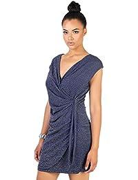 KRISP® Robe Portefeuille Mini Sexy Moulante Soirée En Lurex Col V Soirées
