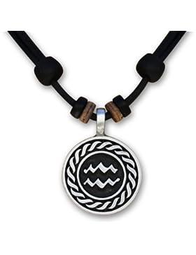 1 von 12 verschiedenen Sternzeichen Tierkreiszeichen an verstellbarer Lederkette Horoskop Horoscope Halskette...