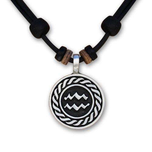 1 von 12 verschiedenen Sternzeichen Tierkreiszeichen an verstellbarer Lederkette Horoskop Horoscope Halskette Surferkette HANA LIMA ® (L - WASSERMANN / 21. Januar - 18. Februar)