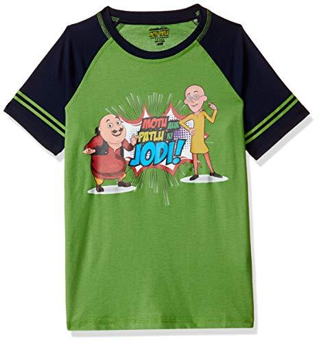 Motu Patlu Boys' Plain Regular Fit T-Shirt (MPPBSL0676_C-Green_4-5 Years)