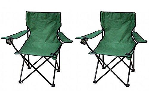 PREMIUM Faltstuhl (2 Stück) Campingstuhl Angelstuhl Klappstuhl mit Getränkehalter und Tragetasche