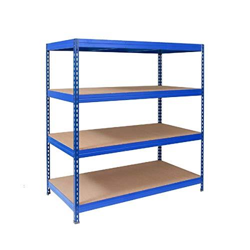 Office Marshall Steckregal Metallregal Lastenregal - 1600 kg Gesamttraglast | für Garage, Keller, Werkstatt | TÜV-geprüft | Viele Größen und Farben (blau, 180x200x60)