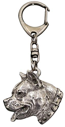 American Staffordshire Terrier (with collar), Hund, Silber, Schmuckanhänger, Anhänger, Schlüsselanhänger, Limitierte Edition, Art Dog -