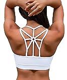 YIANNA Damen Sport BH Gepolstert Elastizität Bustier Yoga BH ohne Bügel Comfort Atmungsaktiv Sports Bra Top Weiß,UK-YA-BRA139-White-L