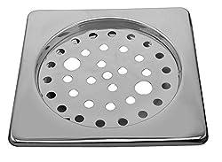Klaxon Steel Square Bathroom Floor Drain (Jali Grating) (Chrome)