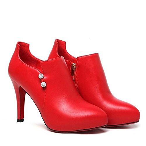 L@YC Donne tacco alto primavera e autunno profonda impermeabile semplice nero di pattini a punta spillo rosso Red