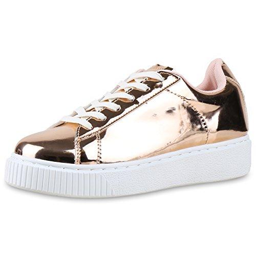 best-boots Damen Herren Low-Top Sneaker Flats Turnschuhe Retro Damen Sneakers Rose Gold Metallic Nuovo 40