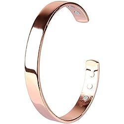 Beauty7 Chapado en Oro Rosa Pulsera Magnética de Cobre para Regalo Artritis Hombres Mujeres Unisex Muñecas Moda Mano Collar Salud Perímetro 19 cm