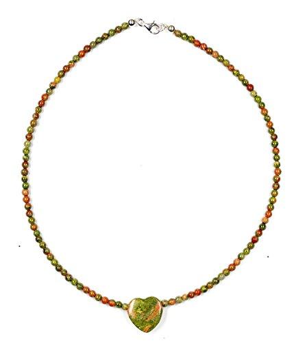epidota/Unakita joyas (Cadena) Cadena con cierre corazón plata de ley 925
