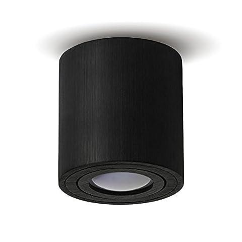 Aufbauleuchte Deckenleuchte Aufputz LED MILANO GU10 Fassung 230V [rund, schwarz, schwenkbar] Deckenleuchte Strahler Deckenlampe Würfelleuchte CUBE Kronleuchter aus Aluminium Spot OHNE