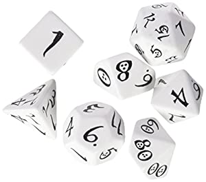 Q WORKSHOP Classic White & Black RPG Ornamented Dice Set 7 polyhedral Pieces