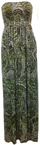 Nuove donne del vestito delle signore forbici boobtube maxi lungo senza bretelle maxi stampato estate formato del vestito S/M- M / L Kiwi print