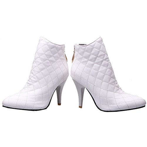 ENMAYER Femmes Ladies PU Matériel Sexy Pointe Toe Stiletto High Heel Zip Bottines Blanc