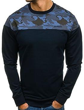 BOLF Felpa senza cappuccio – Military – Pullover – Sweat-shirt – Motivo – Uomo 1A1