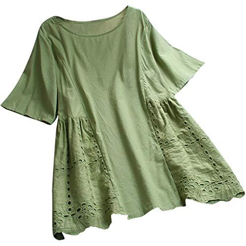 BASACA Damen Langarmshirts Langarm Karohemd Übergröße Herbst Mode Baumwolle und Leinen T-Shirt Bluse Bestickte V-Ansatz Knopf Spitze Kurzarm Weinlese Pullover Tops (XXXXXL, Grün2) -