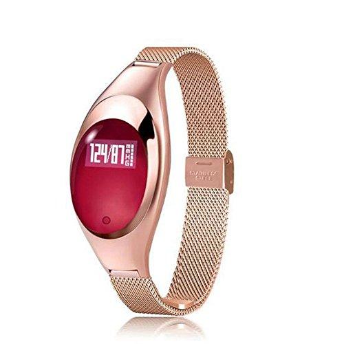 OOLIFENG Frau Smartwatch Blutdruckmessung Herzfrequenz-Messgerät Schrittzähler IP67 wasserdichtes Armband für Android und IOS , Gold