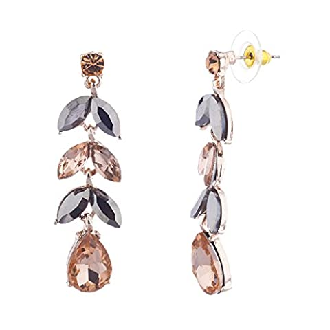 Lux Accessories Rose Gold Special Occasion Petal Teardrop Stone Dangle Earrings