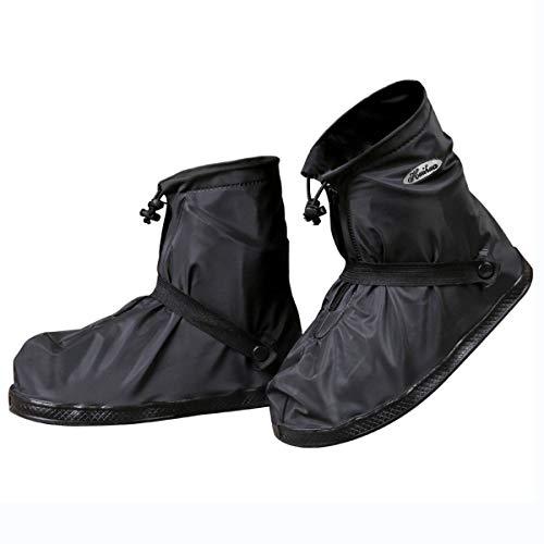 Jianke Regenüberschuhe Fahrrad Wasserdicht Überschuhe Regen Schuhüberzieher Mehrweg Rutschfest Motorrad Regenschutz Schuhe(Schwarz-392,XL)